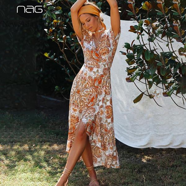 Beach Evening manica corta estate del vestito di Boho stampa a fiori swing Abito Donna V Neck partito dei vestiti lunghi casuali Sundress