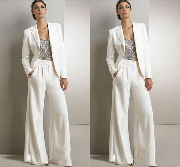 2019 Bling Sequins Beyaz Pantolon Takım Elbise Anne Gelin Elbiseler Örgün Şifon Smokin Kadın Parti Giymek