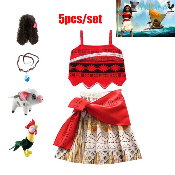 2019 baby girl Princess Carnival Cosplay Costumes for Children Vaiana dress Halloween Costume for Kid little Girls dresses