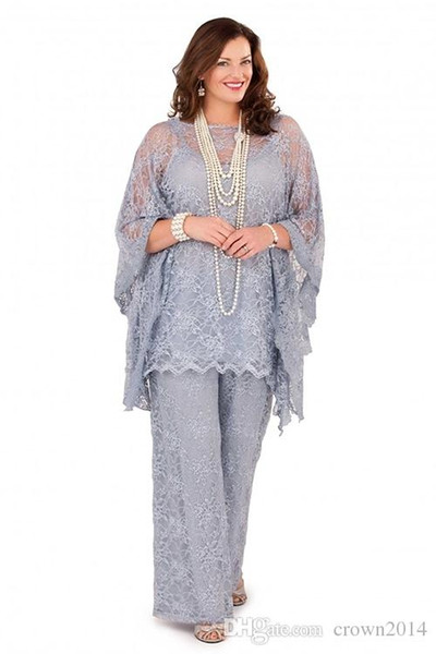 Gümüş Gri Dantel anne Gelin Pantolon Takım Elbise Uzun Kollu 2019 Üç adet Örgün Artı Boyutu Damat Anne Kadınlar Konuk Elbiseler için düğün