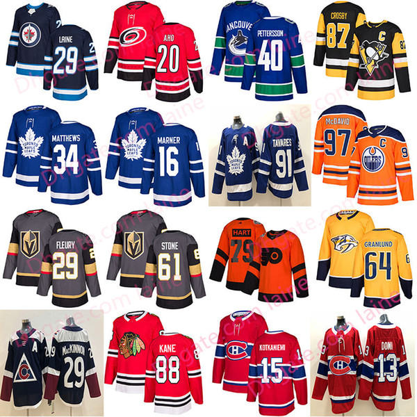 top popular 2019 New Hockey jersey Toronto Maple Leafs chicago blackhawks Vegas Golden Knights 61 Stone40 Pettersson Edmonton Oilers 97 hockey jerseys 2019