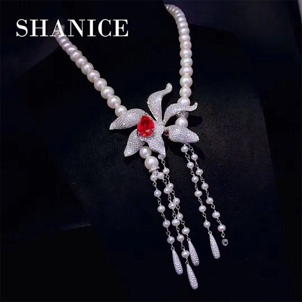 SHANICE 3 colrors Flower DIY Jewelry Findings Micro Pave Zircon Multi-Function Clasp Tassel Pendant Connector For Pearl Necklace