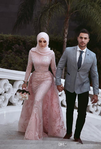 High Neck Muslim Long Sleeves Lace Evening Dresses Slim With Detachable Train Long Formal Prom Party Gowns Pleated Ruched Vestidos De Soiree