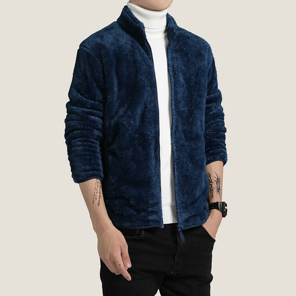 boys thick men double face velvet stand collar warm dark blue jacket youth male fluffy coat autumn winter casual windbreaker 3xl