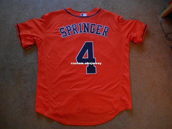 Cheap custom George Springer #4 Orange WS Baseball Jersey Stitched Customize any name number MEN WOMEN YOUTH Jerseys