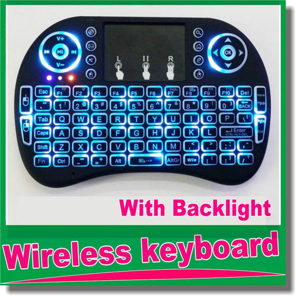 Neuheiten Fly Air Mouse 2.4G Mini i8 + i8B Drahtlose Tastatur Mit Hintergrundbeleuchtung Maus Fernbedienungen Touchpad OM-D5