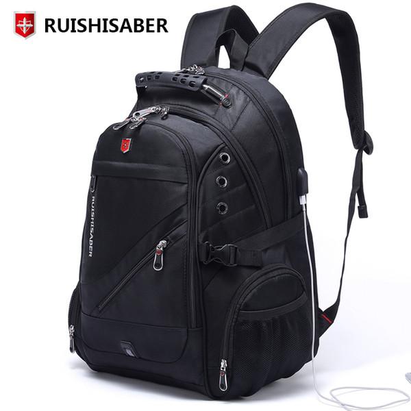 New Oxford Swiss Backpack Man External Charging Usb 15/17 Inch Laptop Women Travel Rucksack Vintage School Bags Bagpack Mochila Y19061102