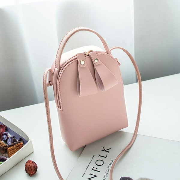 Cheap Women Female Candy Color One Shoulder Small Messenger Bag Mobile Phone Bag Purse For Teenager Girls A40