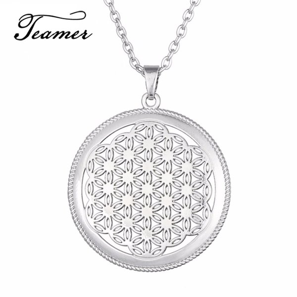 lower of life Teamer Flower of Life Necklaces Round Hollow Pendants Egyptian Amulet Talisman Silver Mandala Women Collar Jewelry Accessor...