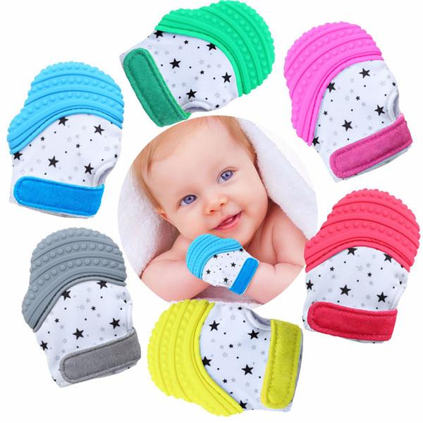 Silicone Teether tettarella del guanto dentizione Guanto Newborn Infermieristica Perle di cura Mittens Dentaruolo masticabili per infantile del bambino