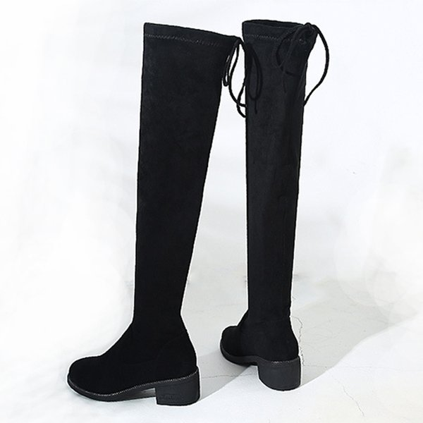 2019 Black Sexy Slim Fit Elastic Flock Over The Knee Boots Women shoes Autumn Winter ladies high heel Long Thigh High botas