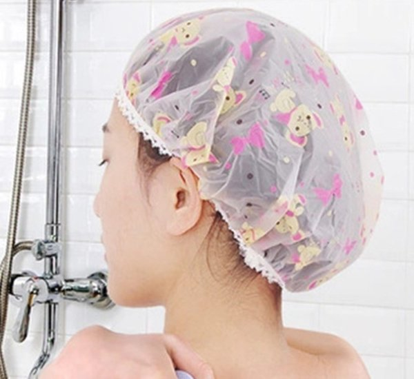 Salon Hats Women Elastic Hat Spa Plastic Waterproof Cartoon Shower Cap Bathing