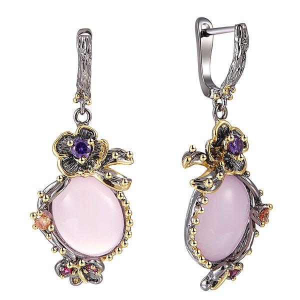 Big pink stone Dangle Earrings Color Crystal Jewellery Vintage plating Best Jewelry Drop earring for women