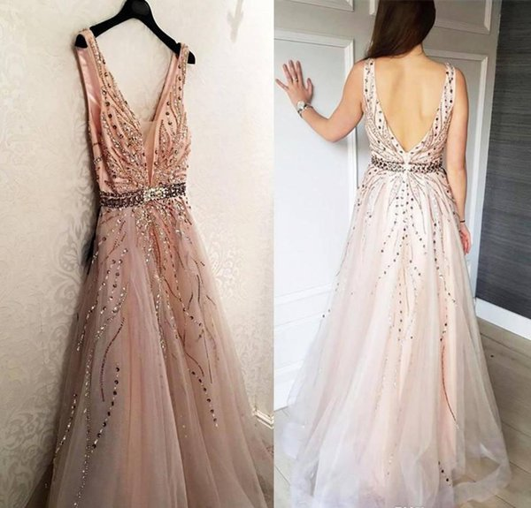 2019 Cheap Deep V Neck Long Prom Dress Tulle Floor Length Pageant Holidays Wear Graduation Evening Party Gown Custom Made Plus Size