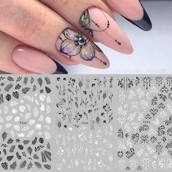 3D Nail Stickers Nail Accessories Black White Mandala Flower Leaf Tropical Butterfly Patterns 3D Art DIY Decorations