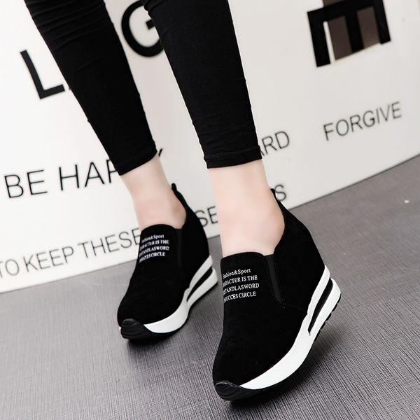 Sneakers donna Tacco piatto Platform Flock Thick Sole Tinta unita Lady Scarpe casual Primavera autunno Leggero slip on Shoe 35-39