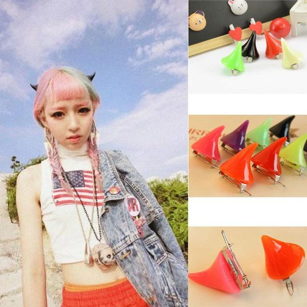 Hot 1 Pair Horror Gothic Small Demon Horn Halloween Clip Pin Hairpins Cosplay Costume Hair Accessories #48610