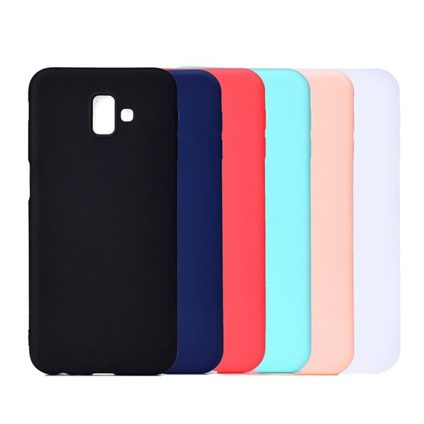 Phone Case For Samsung Galaxy J4 J6 Plus J3 2018 J2 Pro 2018 Frosted Back Cover Solid Color Simple Soft TPU