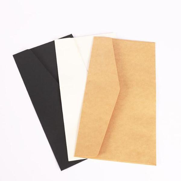 11x22cm Kraft Busta in carta bianca nera Carta per messaggi Lettera Fermo Portaoggetti Carta Regalo Invito per matrimonio ZC1249