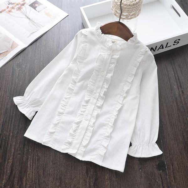 Frühlingsmädchen Baumwolle Rüschen Shirts Kinder Kleidung Prinzessin 2019 Baby Jumper Weiße Bluse Kinderkleidung