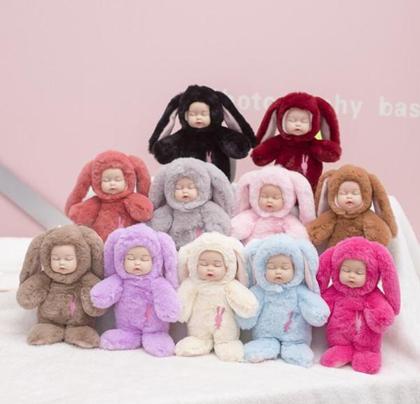 Sleeping baby doll Fluffy Rabbit Fur Pompom Key Ring Long Ear Bunny Design Cute Baby Doll with key ring Gift for Girls