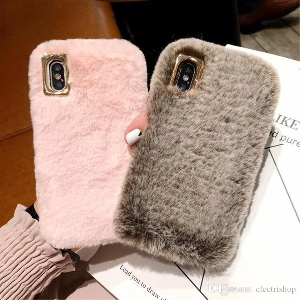 shopitem Cute Fluffy Rabbit Hair Fur Case For iPhone XS Max XR X 8 7 6S Plus Cover Lovely Warm Bling Soft Phone Cases