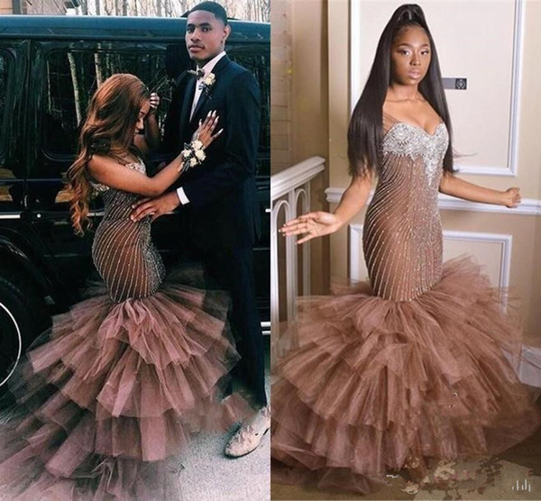 Gorgeous Afrian Couple Fashion Mermaid Prom Dresses Layer Ruffles Beadings Appliqued Sweetheart Long Black Girl Party Evening Gowns BC1699 Australia