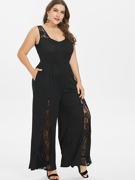 Wipalo Women Plus Size 5xl Lace Panel Wide Leg Jumpsuit Casual Solid Plunging Neck Sleeveless Floor Length Jumpsuit Big Size Set Y19060501