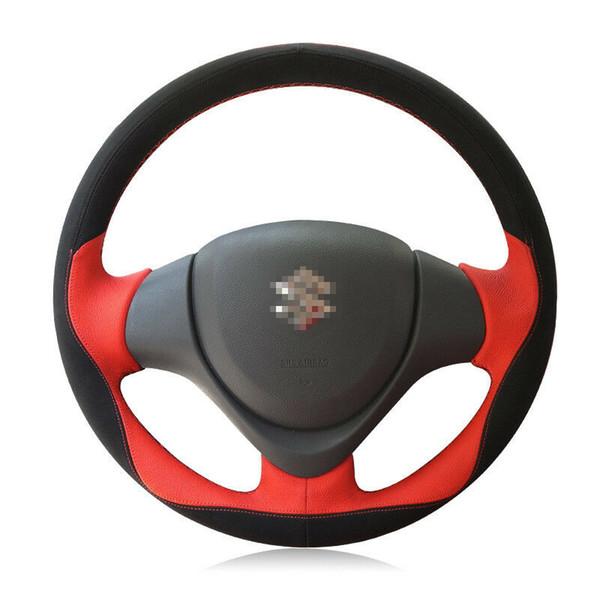 Per Suzuki Jimny 11-2015 Top in pelle fai-da-te copri volante auto cucita a mano