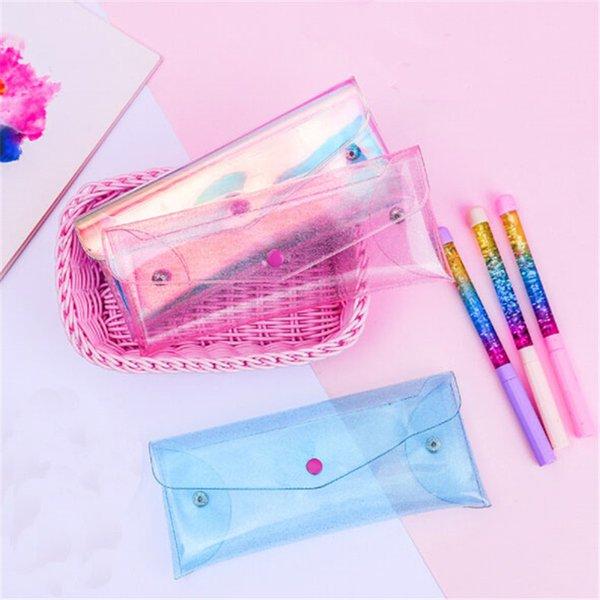 2019 simple transparent laser bag girl lovely pencil bag korean little fresh student candy color fashion makeup storage case - from $24.31