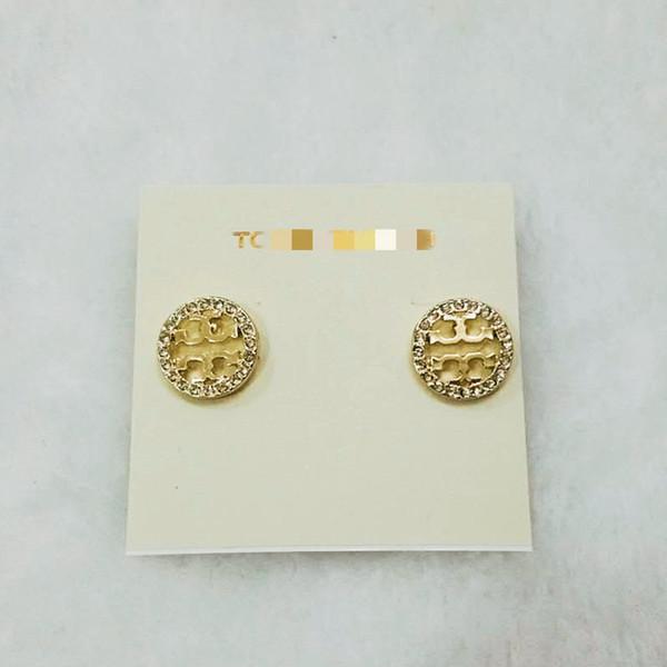 Pendientes de botón con diamantes brillantes de 2019 letras T de aleación de Europa y América. Pulseras redondas de oro, plata, perlas y perlas.