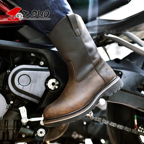 Z.Suo mode hommes femmes moto bottes en cuir de haute qualité bottes western western rétro-moto Motocross Moto Riding