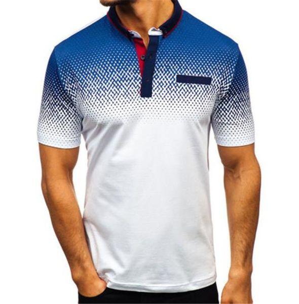 3D-Druck Kontrastfarbe Herren T-Shirts Revers Casual Herren T-Shirt Polka Dot Polo Bluse Drucken männliche Kleidung