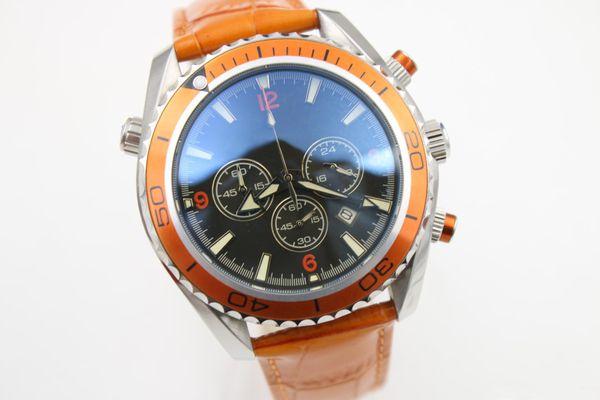 2019 Hot seller watch men quartz stopwatch Co-Axial planet ocean chronograph function watch orange leather belts watches men dress wri