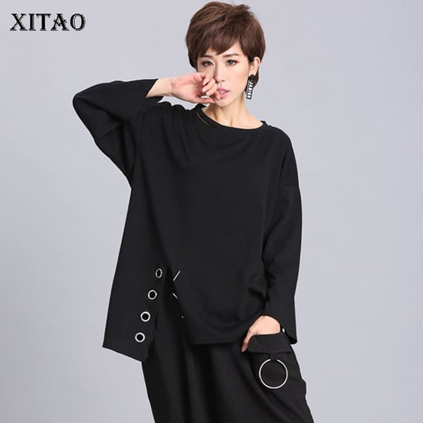 [XITAO] Europe 2018 New Spirng Women Metal Ring Decoration Split Full Sleeve T-shirts Female O-neck Batwing Sleeve Tees LJT1198 Y18122401