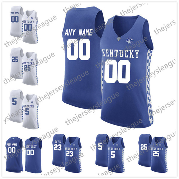 Kentucky Wildcats Custom Any Name Any Number White Royal Blue Stitched NCAA College Basketball Jersey #14 Tyler Herro 23 Anthony Davis