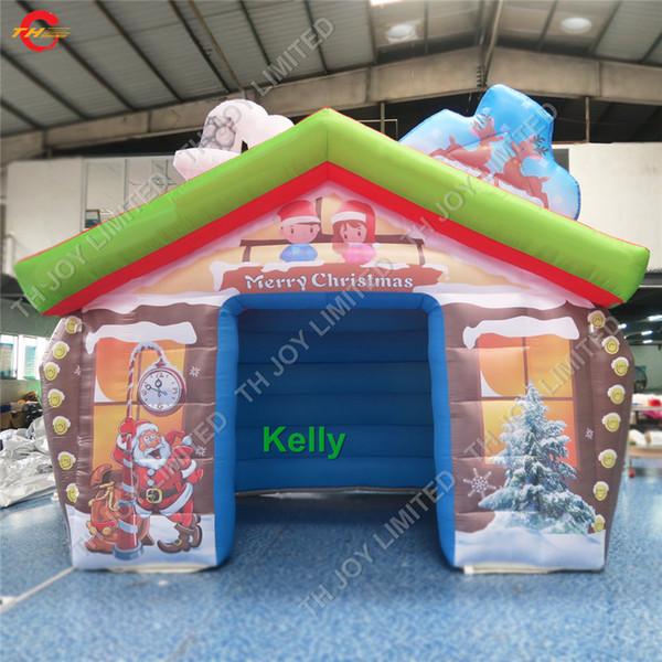 maison gonflable de Noël en plein air portable à vendre maison Santa gonflable commercial gonflables pas cher tentes grotte père noël