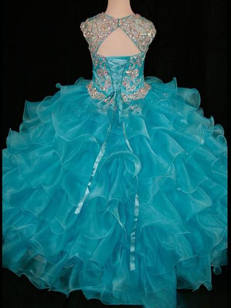Nuevo vestido para el pecho, gasa en la espalda, gasa Eugene y dosel en el piso para el vestido de desfile de belleza para niños.