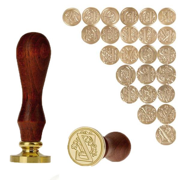 Retro bois timbre en bois Sceau 26 Lettre A-Z Salutations de mariage d'étanchéité Joint de cire Timbre Poteau décoratif Cadeaux Artisanat