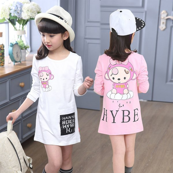 New Fashion Long Girls T-shirts For Children 2018 Spring Autumn Kids Pink White Tops Cotton Teenage Long Sleeve Bottoming Shirts Y19051003