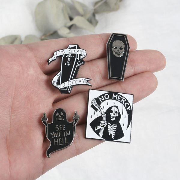 Skull Pin Coffin Enamel pins Devil Brooches Skeleton Lapel pins Dark Punk Collection Brooches for men women