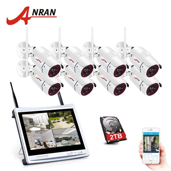 ANRAN WIFI 2MP 12 Inch LCD Screen NVR Kit Home Security Camera System Network IP Camera Night Vision Video Surveillace Kit