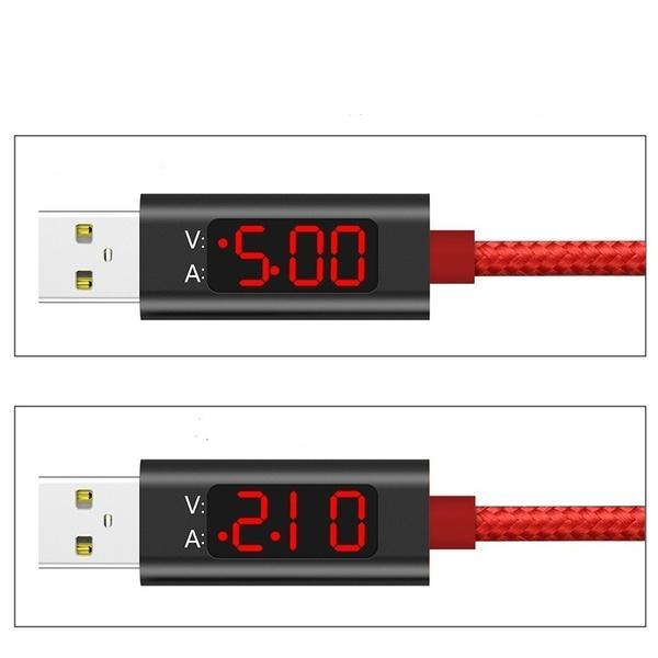 Nylon Pantalla LCD Voltaje y corriente Pantalla inteligente Cable de datos USB Cable de carga rápida para Micro USB Tipo C