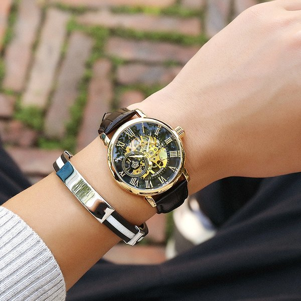 Watch Man Mechanics Surface Roman Numeral Hollow Out Revelar The Inside Story Manual Operation Operation Mechanics Male Epidermis Traer Surface