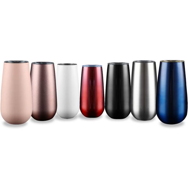 6 Unzen eiförmige Tassen Weingläser Tumblers Stemless Edelstahl Doppelwandige vakuumisolierte Becher mit Deckel OOA5971