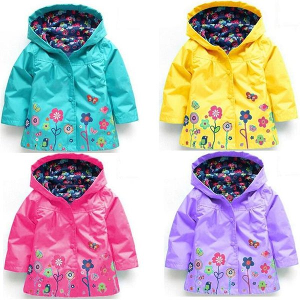 Children Raincoat Loose Coat Boy Girl Clothes Flower Windbreak Rain Proof Hooded Cap Coat Long Sleeves 28