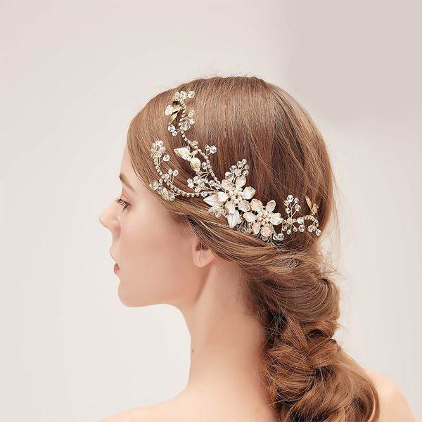 Haarkamm Haarschmuck Braut Hochzeit Diademe Perle Blume Strass Kristall
