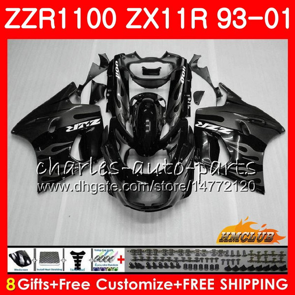 Kit para KAWASAKI NINJA ZX11R 93 01 ZX11 R 93 94 95 96 97 31HC.128 ZX 11R ZZR 1100 ZZR1100 ZX-11R chamas cinzentas 98 99 00 01 1993 2001 Carenagem