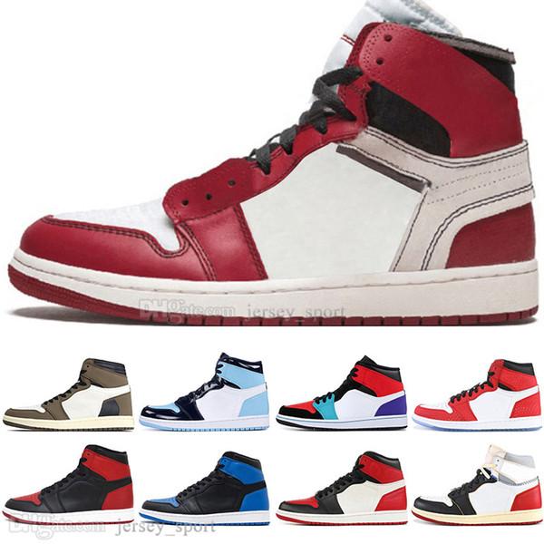 Vente en gros 1 Travis Scotts Cactus Jack Obsidienne UNC Spiderman Chaussures de basketball Hommes 1s Top 3 Banned Bred Toe Hommes Sport Designer Baskets