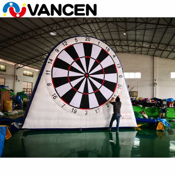 Grosshandel 4m Pvc Einseitig Aufblasbare Fussball Dart Sportspiele Tragbare Aufblasbare Fussball Dartscheibe Mit 6 Ballen Von Obstacle2 678 4 Auf